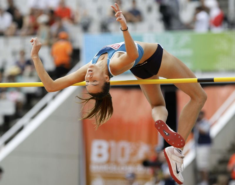 Frenkel of Israel competes duirng women's high jump qualifications at the European Athletics Championships in Barcelona