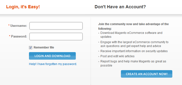 magento e-commerce platform login