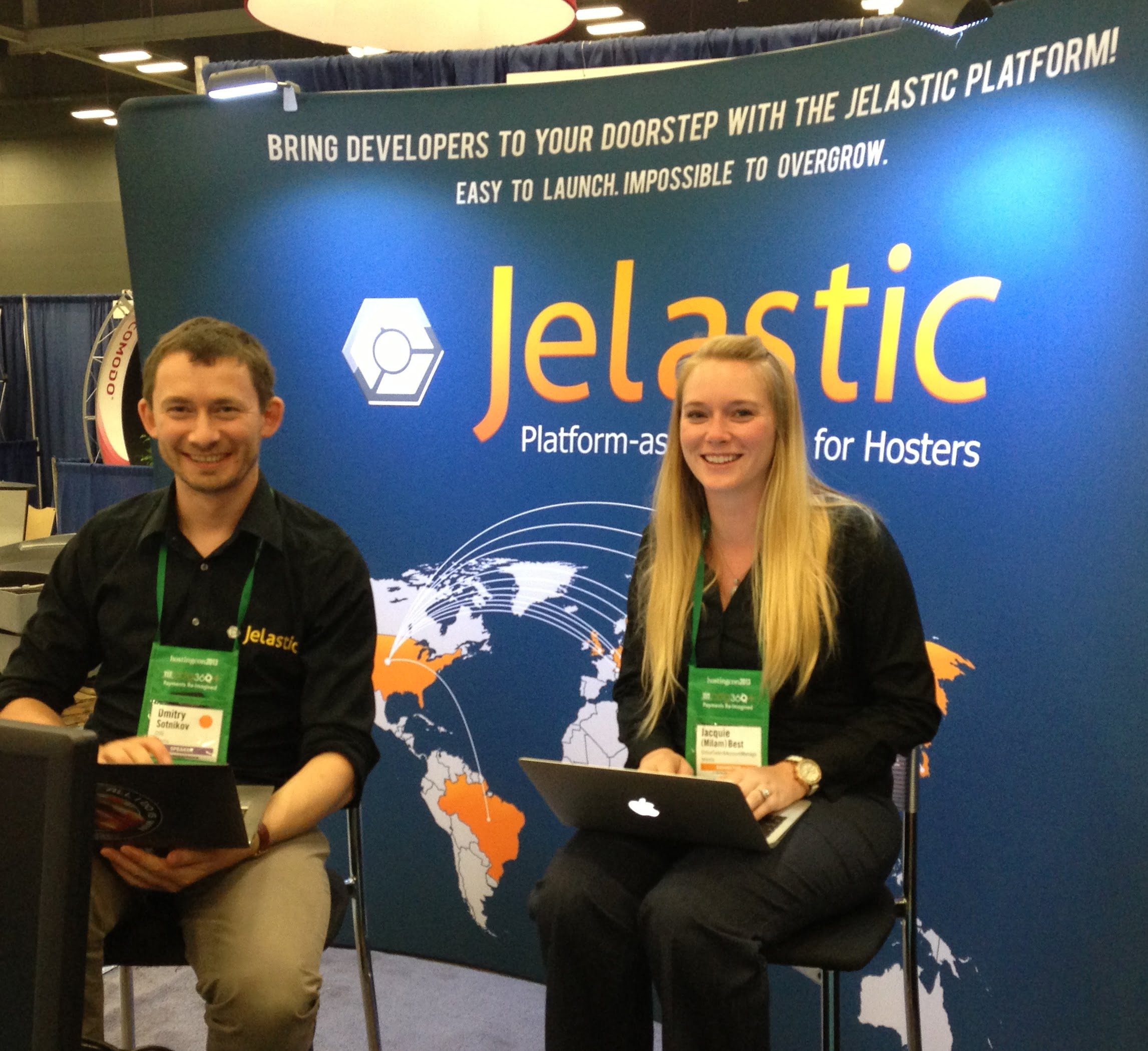 Jacquie and Dmitry from Jelastic at HostingCon 2013