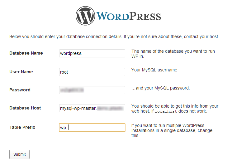 WordPress Database Connection