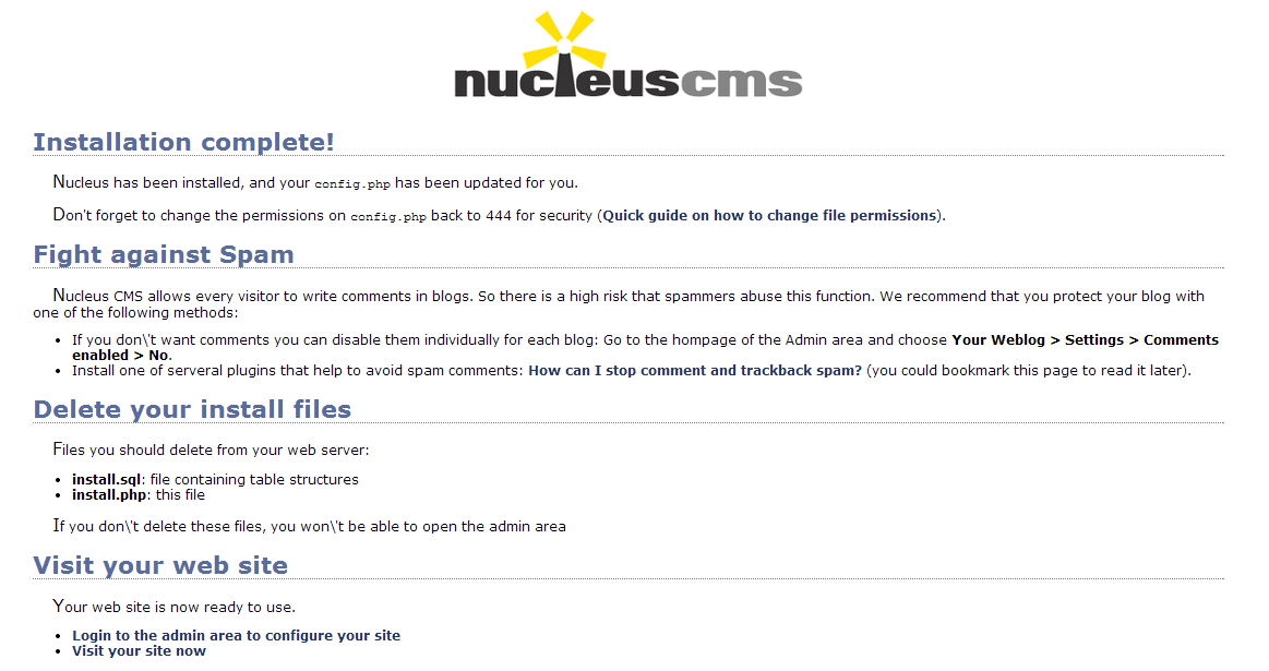 nucleus cms installation recommendations