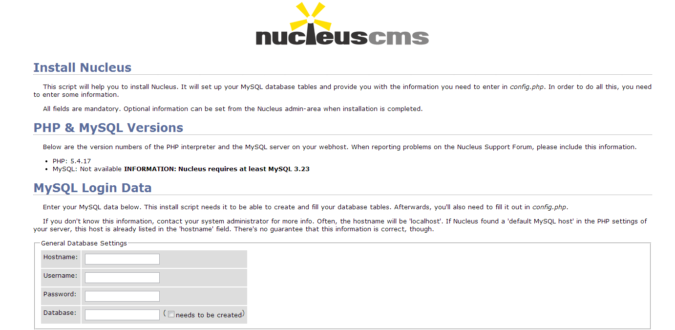 start Nucleus CMS installation