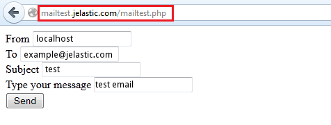 mailtest form filled