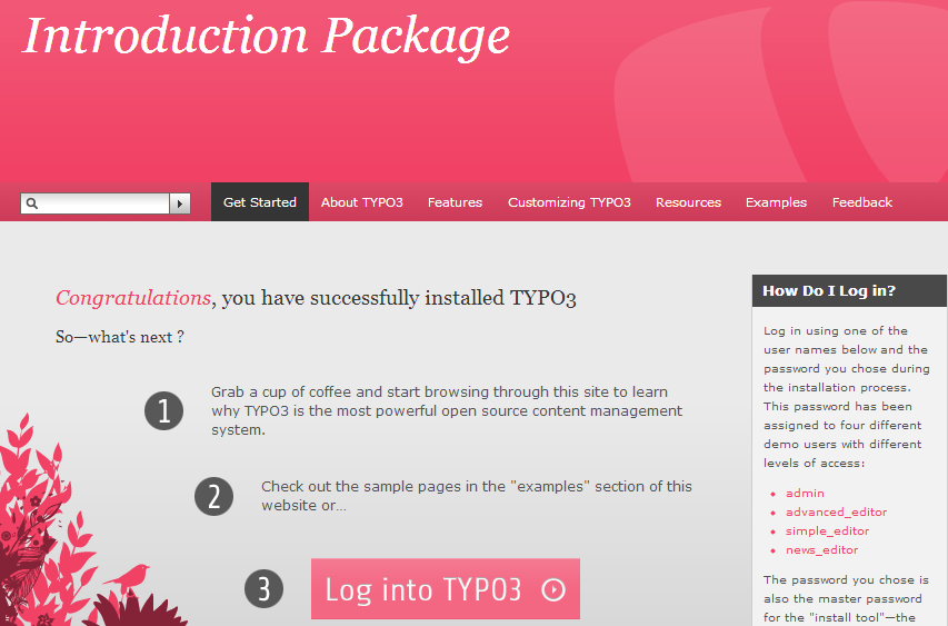 typo welcome page