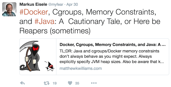 java community about memory constraints and Docker containers