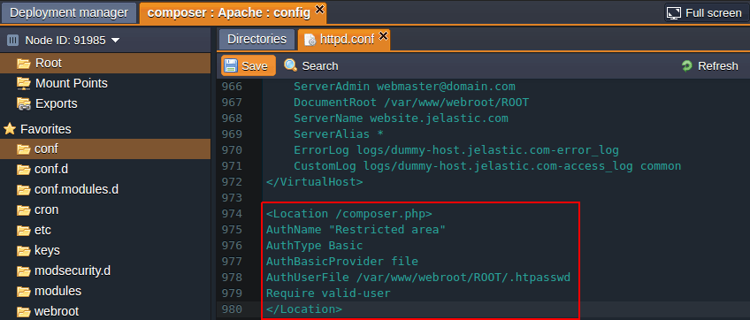 apache configuration php composer