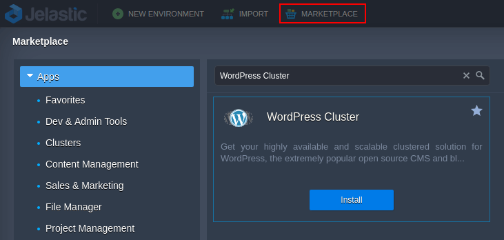 wordpress cluster from marketplace
