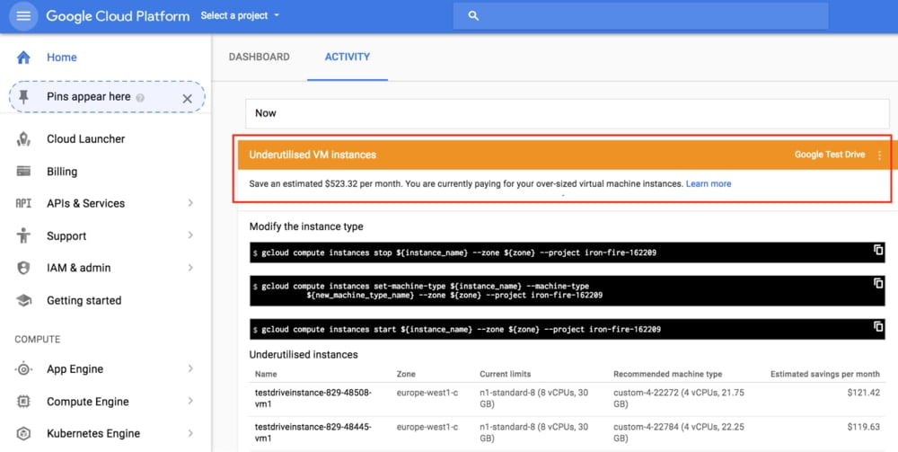 google cloud overpaid resources notification