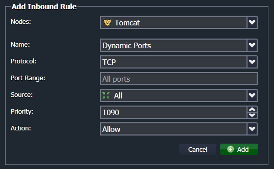 parameters for new firewall rule