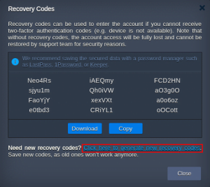 access recovery codes