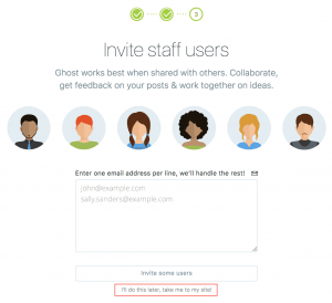 invite users to ghost blog