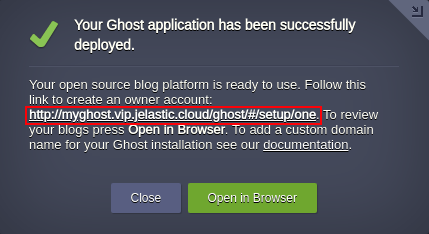 create owner account for ghost application