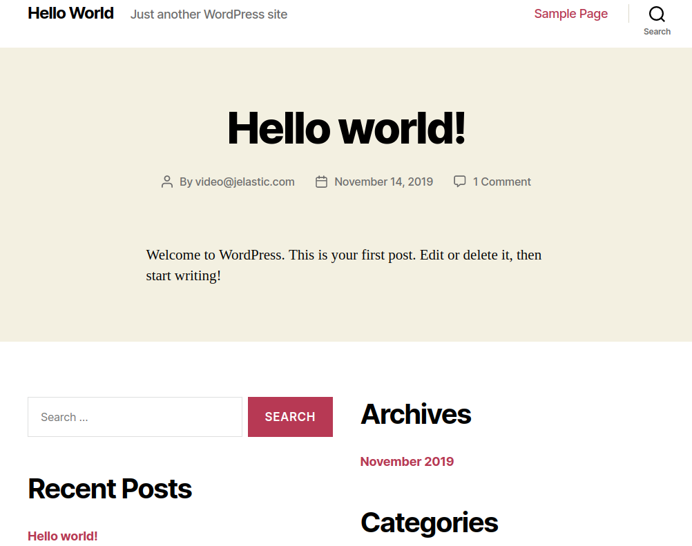 wordpress hosting welcome page