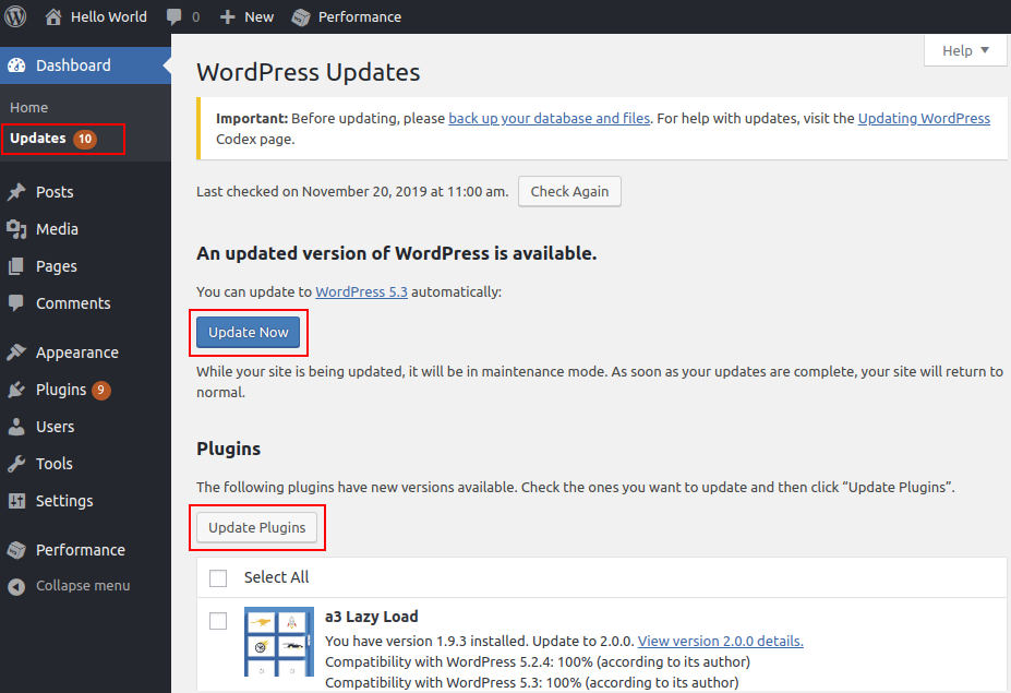 wordpress hosting standalone update