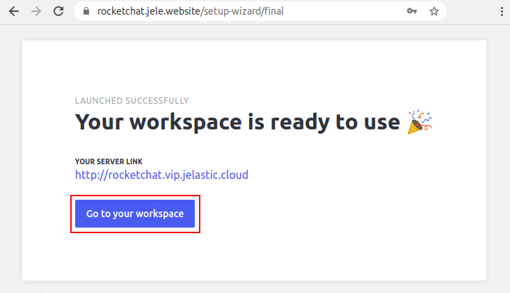 Rocket.Chat workspace