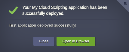 Cloud Scripting application deployed