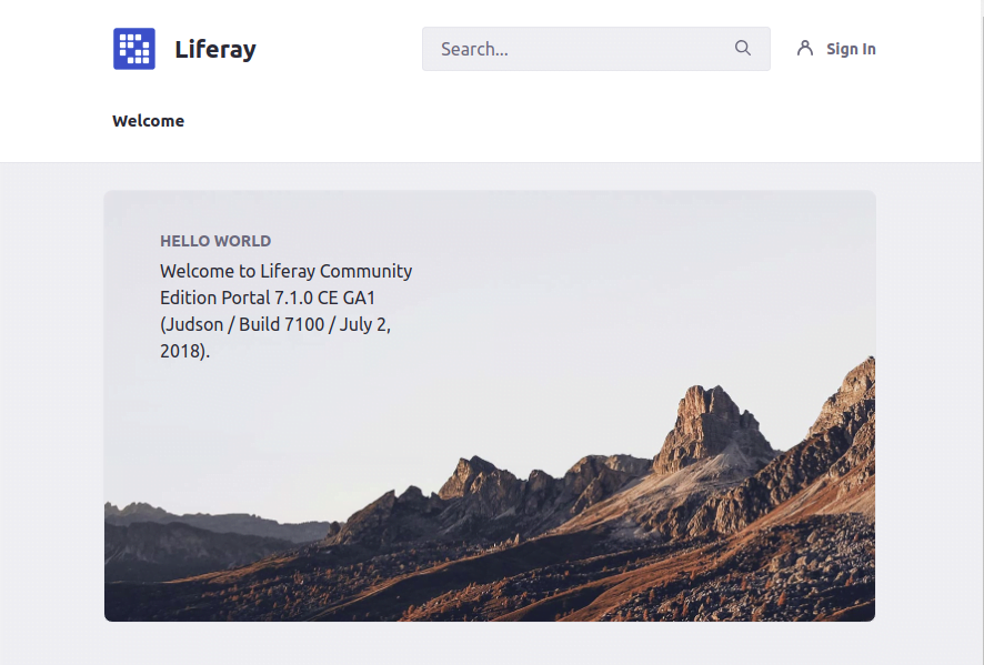 Liferay Digital Experience Platform welcome page