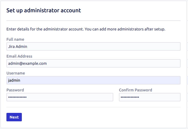 Administrator account details