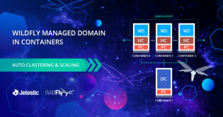 Automatic WildFly Clustering in Managed Domain Mode and Scaling inside Containers
