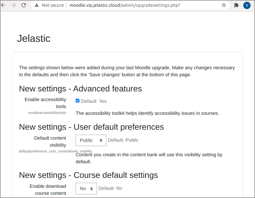 Moodle System Settings